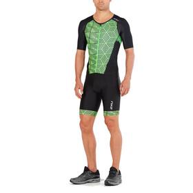2XU Perform Full Zip Sleeved Trisuit Men black/geo neo green